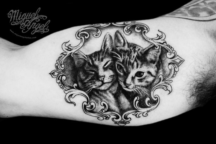 Custom Victorian frame and cats portrait tattoo | Miguel Ang… | Flickr