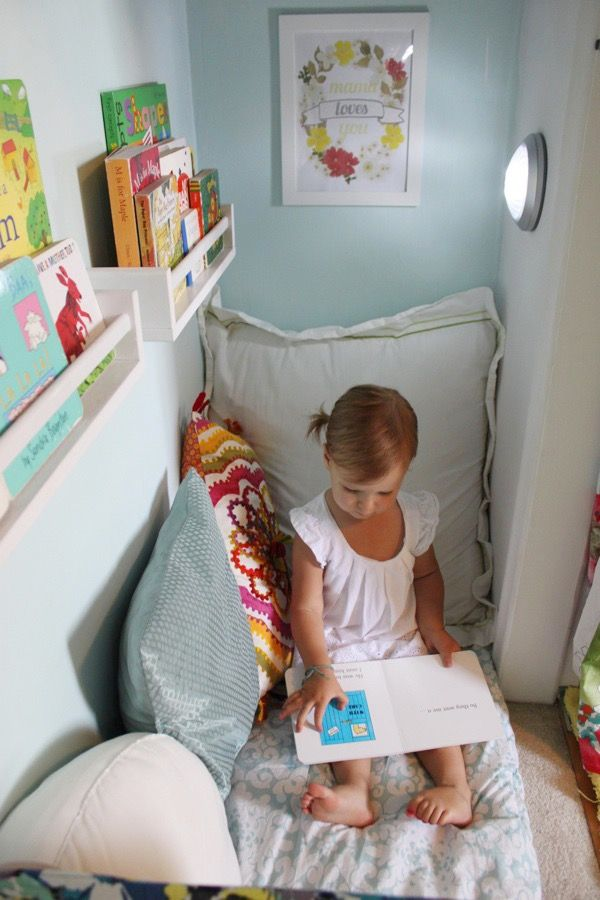 All a little reader really needs is a book, but a soft place to curl up, a light and maybe even a bit of privacy doesn't hurt. I love the trend of repurposing kids closets as reading nooks. You can keep the door to make a secret reading hideaway or take the doors off to make small rooms seem bigger.