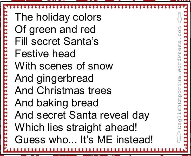 The 25+ best Secret santa poems ideas on Pinterest | Secret santa ...