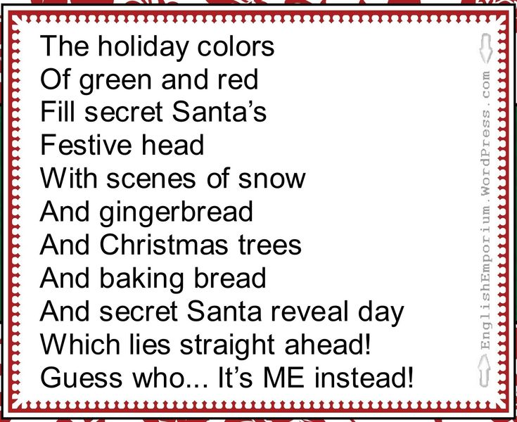 "As Christmas day is just two weeks away, I thought it would be a good idea to offer a ""reveal"" poem. Now, if you're new to Secret Santa/Silly Santa, you may not know what people are talking about w..."