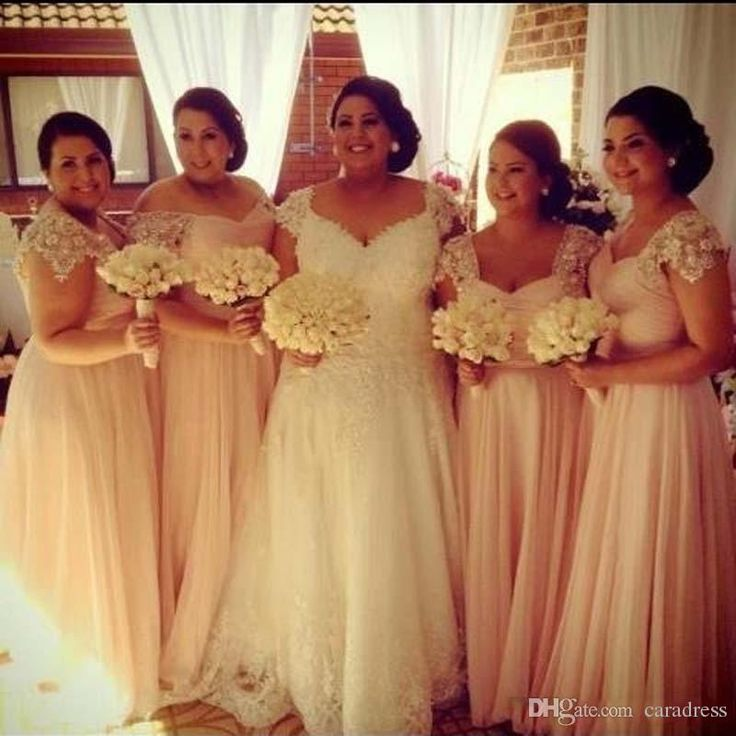 Elegant Plus Size Bridesmaid Dresses Pink Formal Dresses Ruched Bodice Lace Dress Designers Cap Sleeves Long Bridesmaid Dresses Online Online with $97.39/Piece on Caradress's Store | DHgate.com