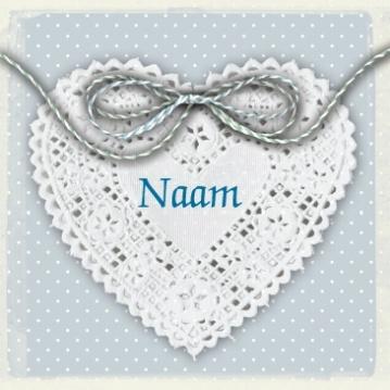Klasieke geboortekaartje kanten hart in blauw