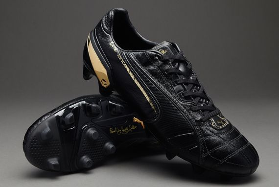 Puma Football Boots - Puma King Lux FG - Firm Ground - Soccer Cleats - Black-Black-Team Gold