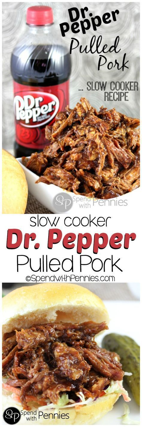 Dr. Pepper Pulled Pork! This is an amazing slow cooker recipe and I LOVE coming home to dinner in the crock pot!! This works with root beer too!!