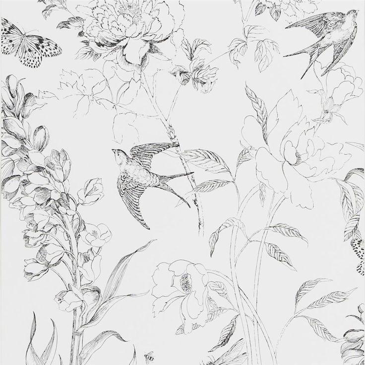 Sibylla Garden Black And White Wallpaper | Designers Guild