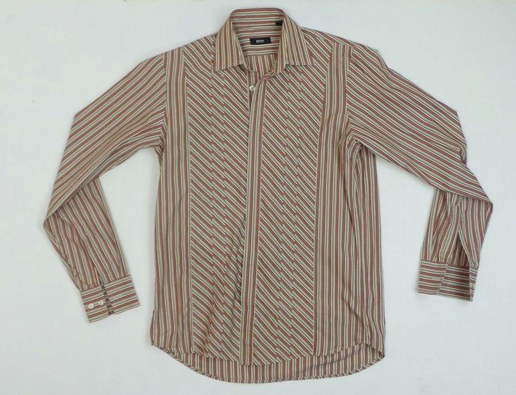Boss by Hugo Boss Men Hidden Button Dress Shirt Size 37 14 5 | eBay
