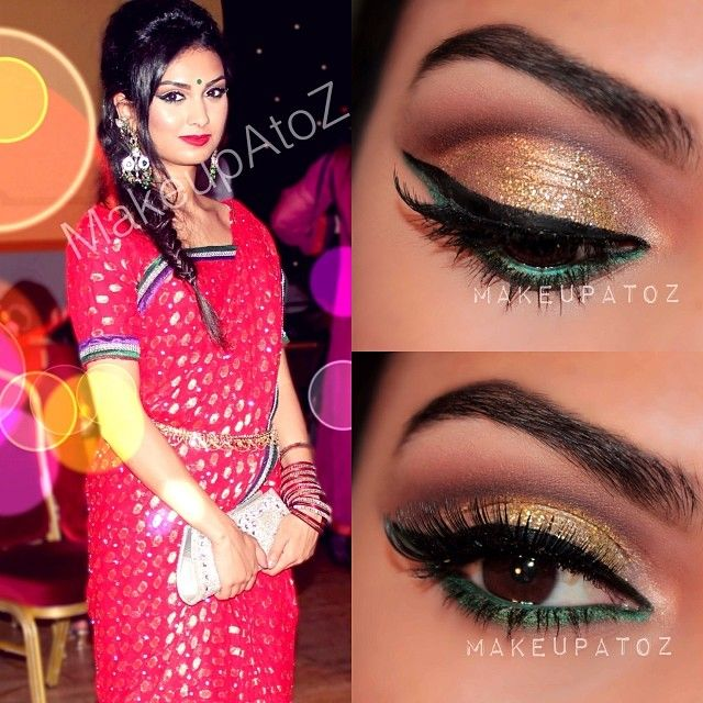 Mehndi Party Makeup : Tanzina ahsan gazi as requested glittery cut crease