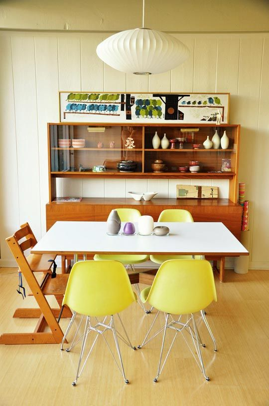 """Seonna's Hillside Home, Los Angeles.    """"The home is comfortably decorated with both modern and vintage pieces, warmly accentuated by the obvious presence of Seonna's daughter's playthings and artwork""""  from apartmenttherapy.com"""