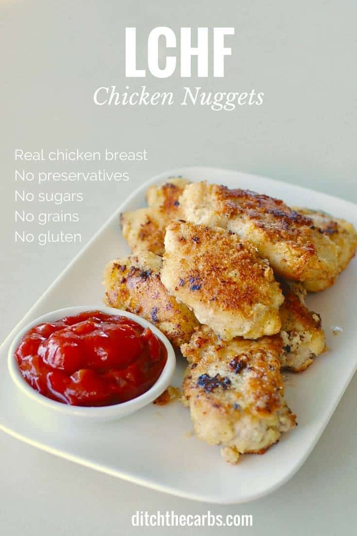 LCHF chicken nuggets. Low carb, grain free and so simple and healthy to make. | ditchthecarbs.com