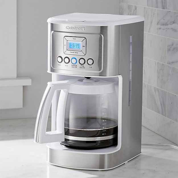 Stylish in brushed stainless steel and white, this 14-cup programmable coffee maker provides hotter coffee without sacrificing taste. Strength control brews regular or bold with a brew-pause function that lets you enjoy a cup before the brewing cycle has finished. Gold-tone coffee filter means no paper filters and easy cleanup. Sixty second reset recalls your setting in case of a power outage.