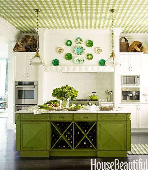 10+ Green Rooms That Will Inspire Envy: Opting for green grass cloth on the walls is an effortless way to bring the outdoors inside.   Source: Maura McEvoy for House Beautiful   : A green island and gingham wallpaper on the ceiling create a kitchen that is filled with personality.   Source: Eric Piasecki for House Beautiful
