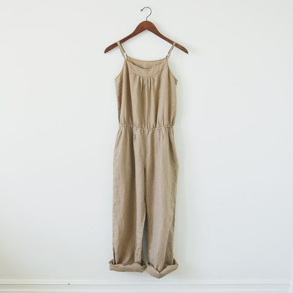 Vintage linen overalls / camel jumpsuit / by standardedition