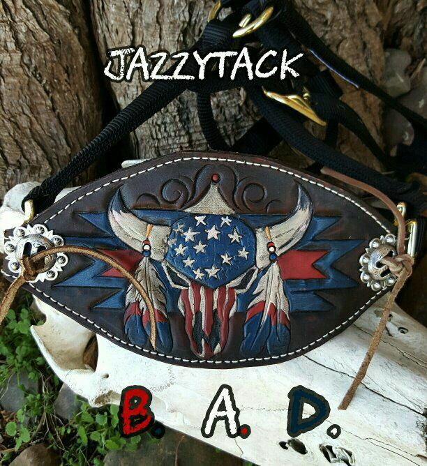 Hand tooled Americana skull on a custom bronc halter by JazzyTack