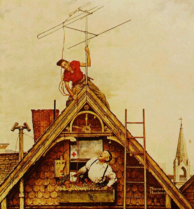 1949  Norman Rockwell   L'Antenne de television, The Aerial  Huile sur Toile  118x109 cm.jpg