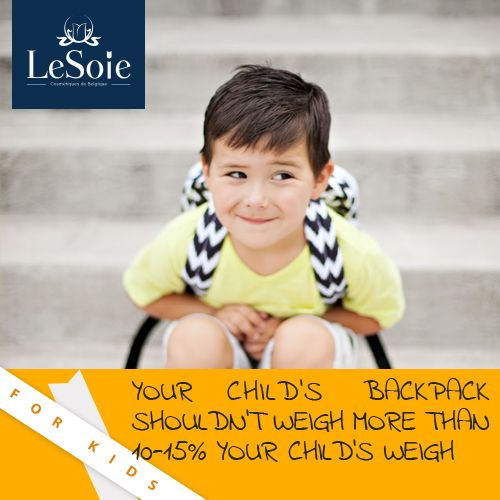 Your child's backpack shouldn't weight more than 10-15% your child's weight. Place the heavier items first to be far from your child's back