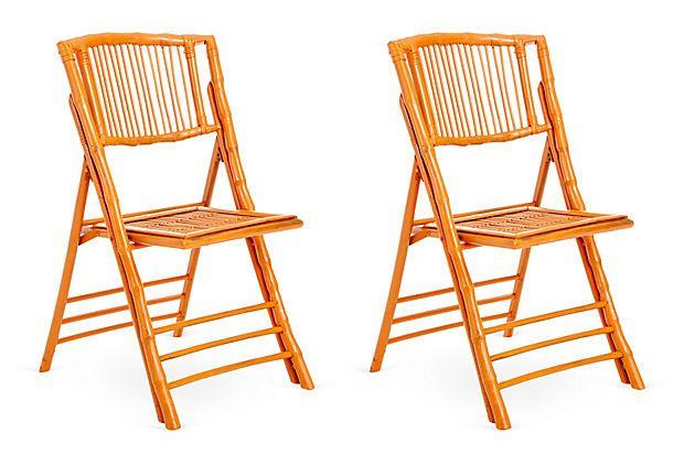 Orange Anneliese Folding Chairs, Set of 2 on OneKingsLane.com