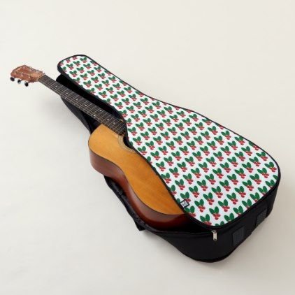 Christmas Red Berries Green Leaves Pattern Guitar Case - diy cyo personalize design idea new special custom