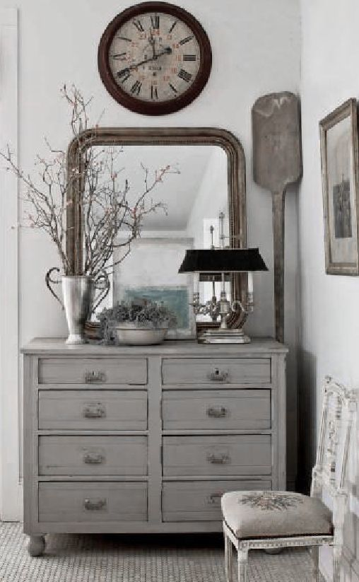 ♅ Dove Gray Home Decor ♅ rustic grey hallway bureau and vignette love the greys repined by www.claudiadeyongdesigns.com