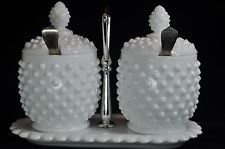 Rare Vintage Fenton Hobnail Milk Glass Jam Jelly Jar Condiment Set With Tray