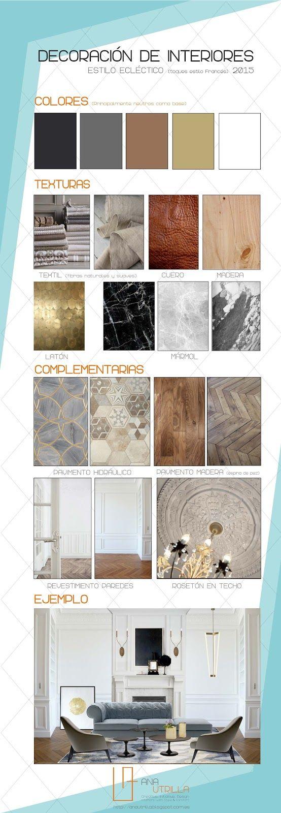 #Infografía #Cómodecorar con estilo #ecléctico elegante por Ana Utrilla. Info@anautrilla.com