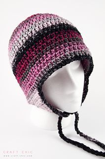 Craft Chic: Basic Ear Flap Hat - Free crochet pattern by Ana Benson in sizes newborn-large adult. Worsted weight yarn.