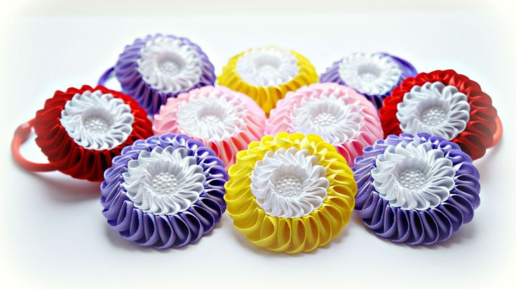 Двойная зефирка Канзаши Мастер-класс / Kanzashi Flower Tutorial, DIY