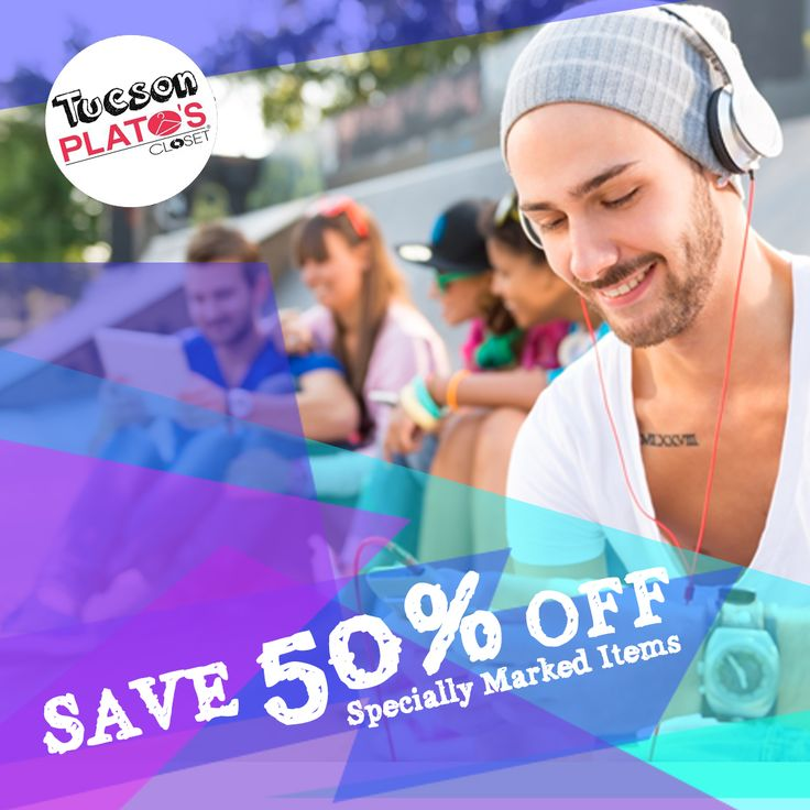 DON'T FORGET about our 50% OFF SALE! Hurry into #PlatosTucson for major savings on specially marked items! | www.platosclosettucson.com