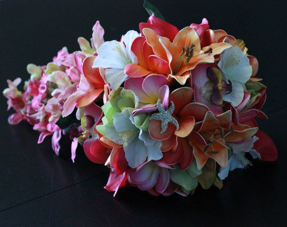 The Kristin Tropical-  Real Touch Cascading Orchids Bridal Bouquet in Hot Pinks,  Fuchsia and Orange.