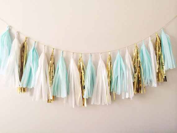 Mint Blue and Gold Tassel Garland on Gold Rope - Spring Decor, Easter Decor, Baby Shower and Party Decoration