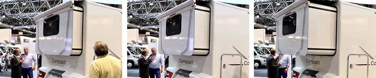 Adria Compact SLS auf der Messe Düsseldorf - Heck-Slideout in Aktion