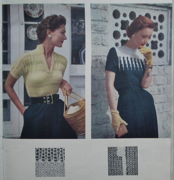 Vintage 1950s Vogue Knitting Patterns - Vogue Knitting Book No 40 1952 - 50s original patterns womens sweaters jumpers cardigans blouses