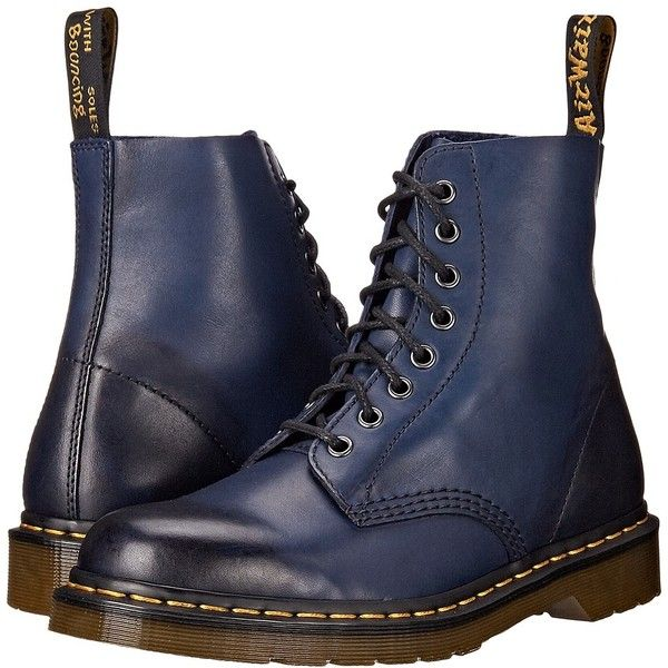 Dr. Martens Pascal 8-Eye Boot (Navy Temperley) Men's Lace-up Boots ($135) ❤ liked on Polyvore featuring men's fashion, men's shoes, men's boots, men, mens leather shoes, navy blue mens boots, mens slip resistant shoes, mens shoes and mens leather boots