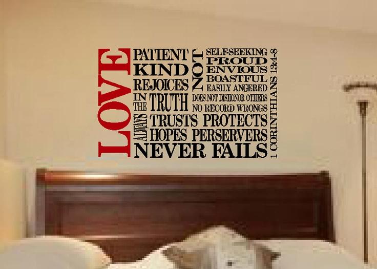 1 corinthians 13 4 8 scripture bible verse wall vinyl. Black Bedroom Furniture Sets. Home Design Ideas