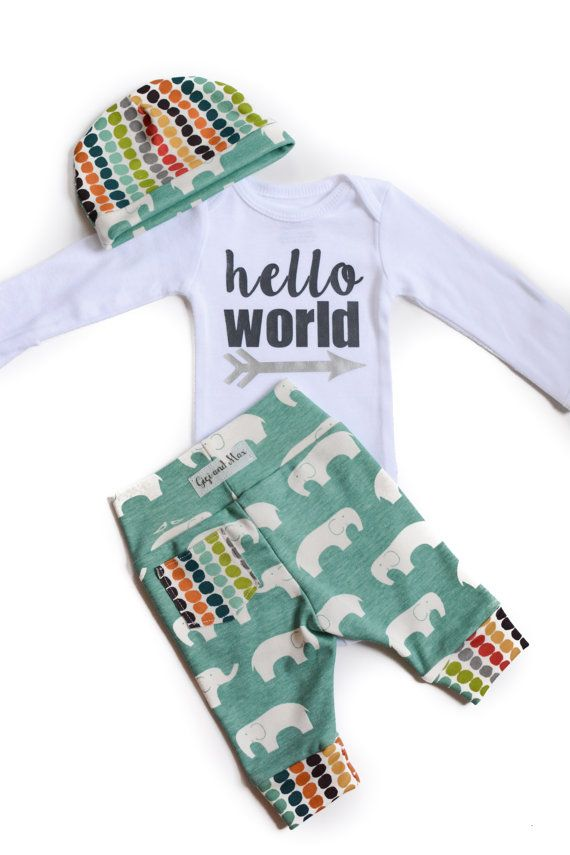 Baby boy going home set - elephant theme - hello world, baby shower gift, coming home outfit new baby going home outfit