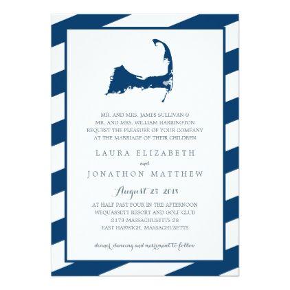 #East Harwich Navy Blue Cape Cod Map   Wedding Card - #beach #wedding #invitations #weddinginvitations #card #cards #celebration #beautiful #summer #summerwedding #savethedate #island #heat #love