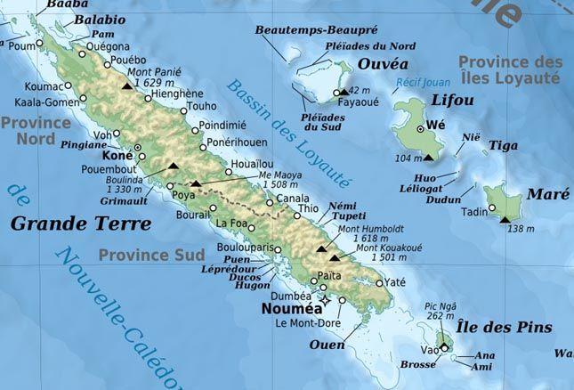Nouvelle Caledonie - Carte touristique Nouvelle-Calédonie