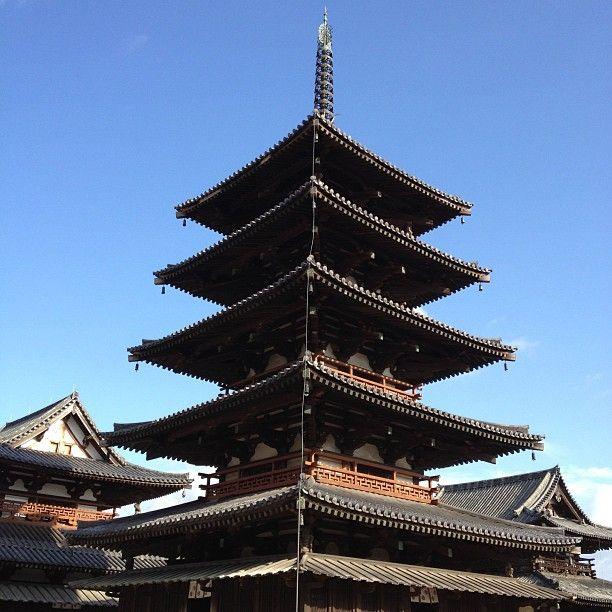 World Heritage Site  法隆寺 (Horyu-ji Temple) in 斑鳩町, 奈良県
