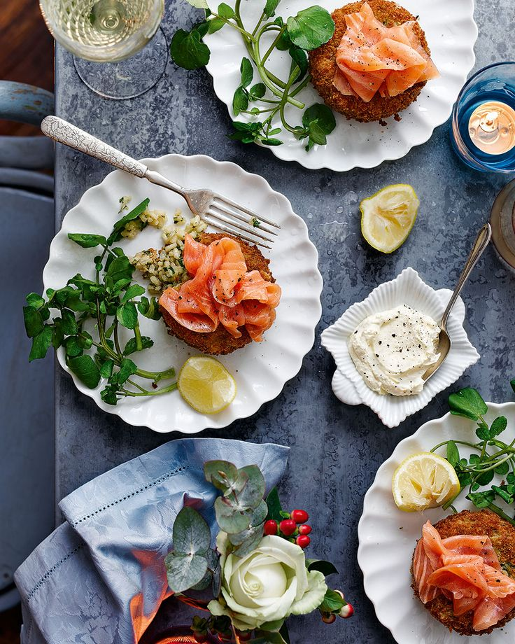 Lemony, crunchy risotto cakes topped with rich smoked salmon and a dollop of zingy horseradish cream is the recipe to start your dinner party off with a bang.