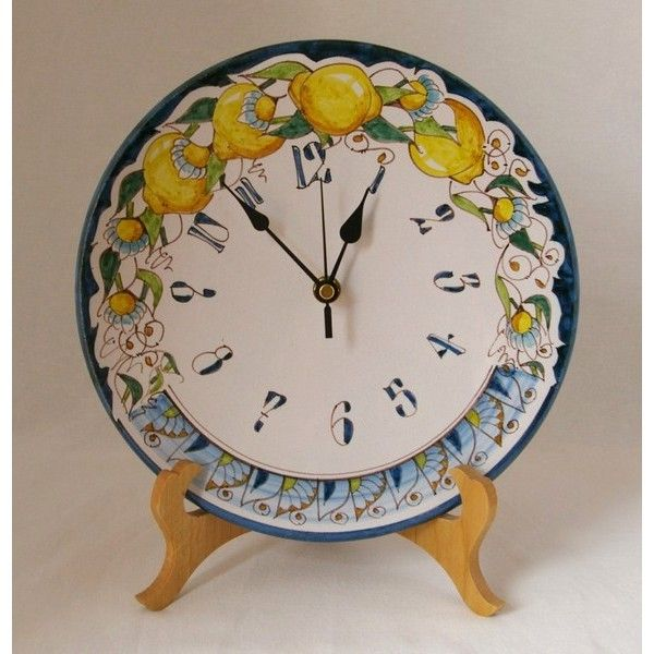 C1 - Medium sized ceramic plate clock with lemons and an intricate pattern, hand crafted and hand painted...a lovely piece of art! Battery operated, this clock may be hung on a wall or used in a plate stand (sold separately)