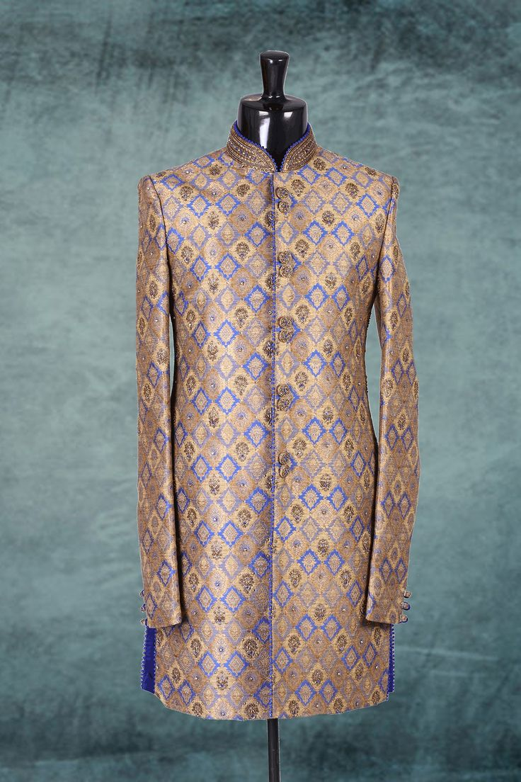 #Gold & #blue khikwab jodhpuri exquisite #sherwani with mandarin collar -IW225
