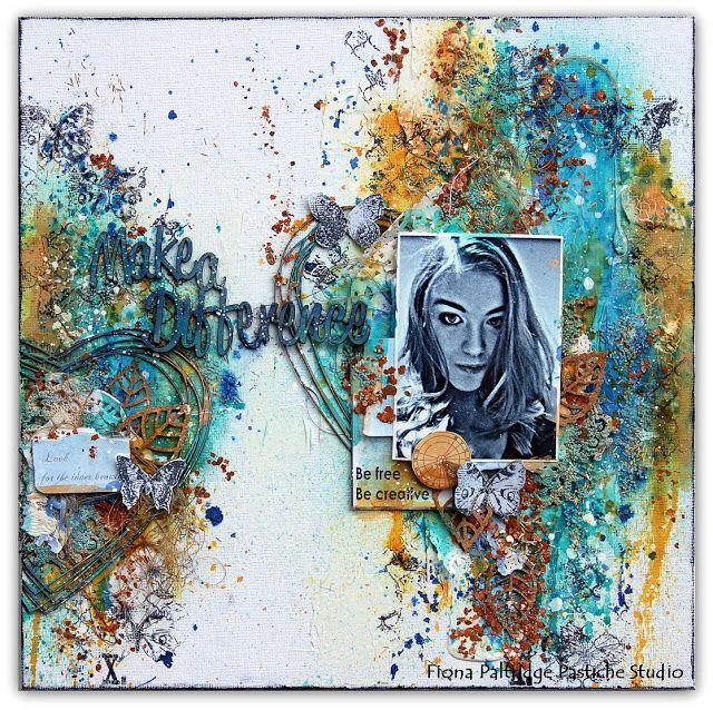 """Pastiche Scrapbook Studio: 13Arts June Challenge """"Textures and Layers"""""""