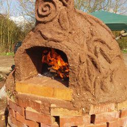 Flora decorated cob oven