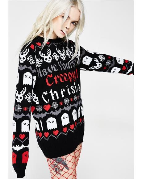 35483f02ae2b Creepy Lil Sweater | Clothing | Christmas sweaters, Sweaters, Ugly ...