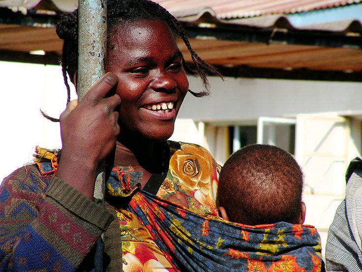 Smiling Zambian mother