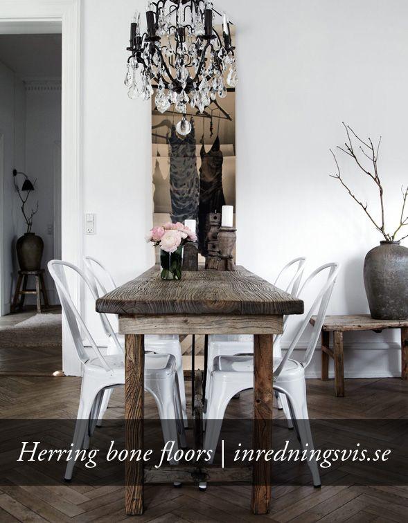 Herring bone floors: http://inredningsvis.se/sondagsinspiration-fiskbensparkett/