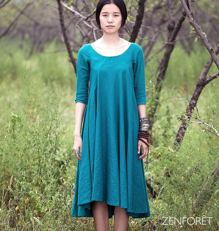 Robe longue à manches 3/4 - Robe printemps/été : Robe par zenforet