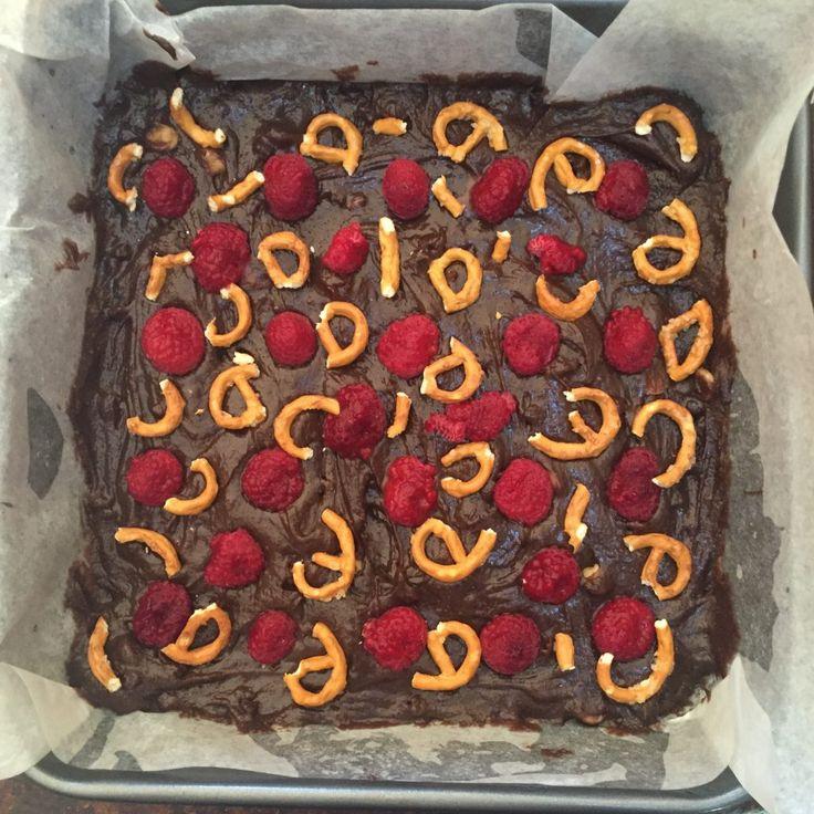 Little J's Triple, Triple Brownies - triple choc, pretzel, peanut butter, raspberry brownies