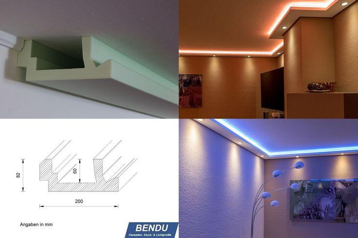 BENDU – Moderne Stuckleisten bzw. Lichtprofile für indirekte Beleuchtung von Wand und Decke aus Hartschaum WDML-200A-ST. Kombinierbar mit LED Band bzw. Lichtschlauch und / oder Spots bzw. Downlights.: Amazon.de: Baumarkt
