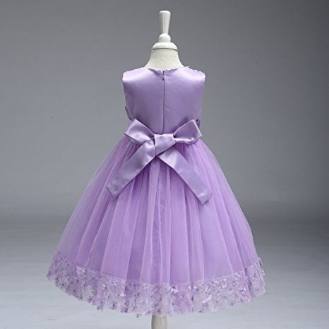 Amazon.com: Purple Dress for Girls Kids Wedding Party Birthday 3D Flower Princess Knee Medium Child Summer Clothing Ruffles Dresses 7t ( 7 314 Purple 130 ): Clothing