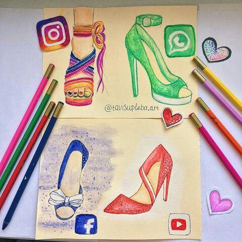 Instagram, WhatsApp, Facebook & YouTube [as shoes] (Drawing by Tavisupleba.Art @Instagram) #SocialMedia